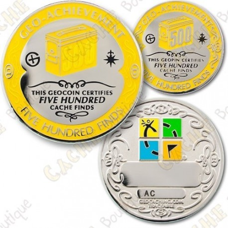 Geo Achievement 500 Finds - Coin + Pin
