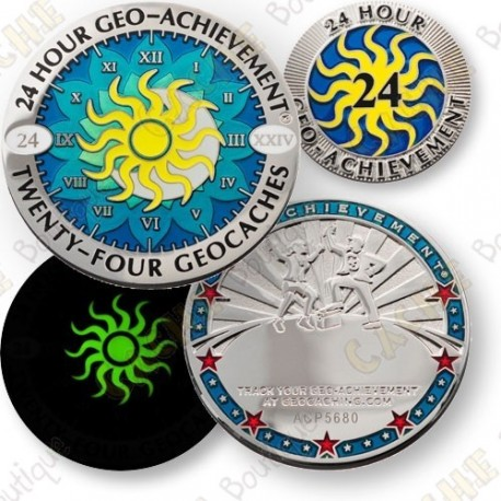 Geo Achievement® 24 Hours 24 Caches - Coin + Pin