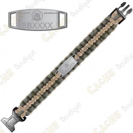 Bracelete Paracord Trackable - Brugse Beer IV - Khaki / Bege
