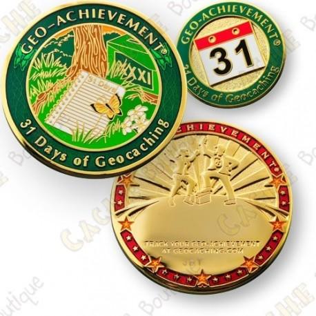 Geo Achievement® 31 Days of Geocaching - Coin + Pin