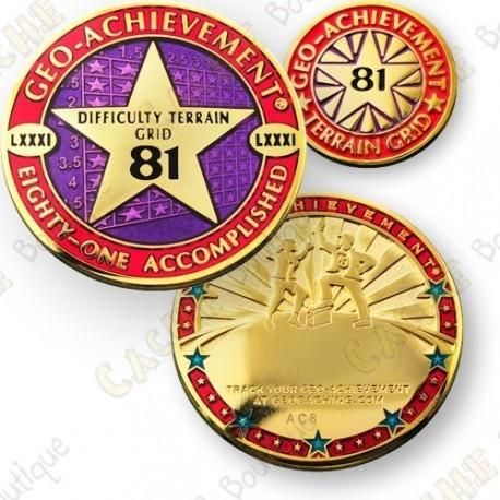 Geo Achievement® Difficulty Terrain 81 Grid - Coin + Pin