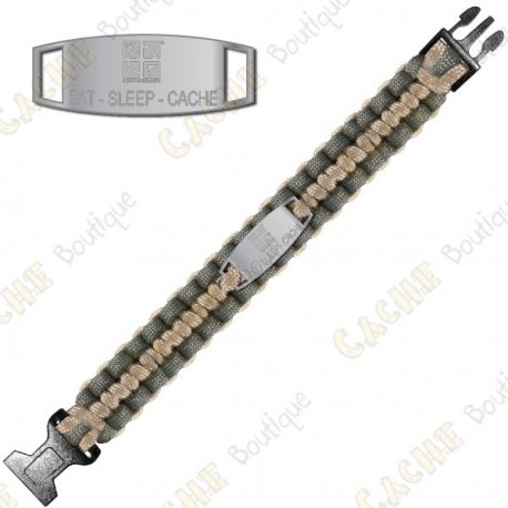 Paracord Bracelet - Eat Sleep Cache - Khaki / Beige