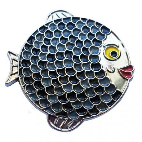 """Géocoin """"Rainbow Fish"""" - Dark on White Silver LE"""