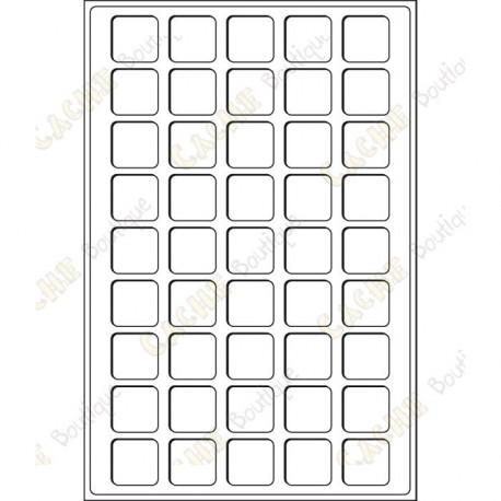 Bandeja L para geocoins 31 x 31 mm - 45 caixas