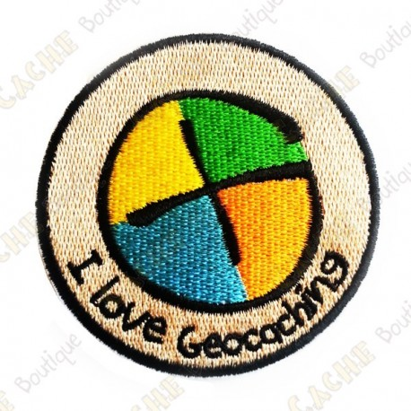 """Patch """"I love Geocaching"""" rond"""