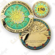Geo Achievement® 24 Hours 150 Caches - Coin + Pin