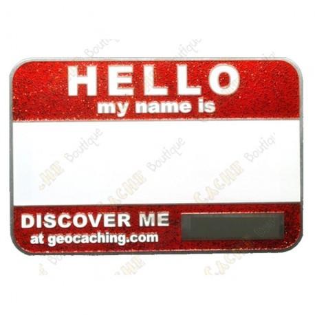 Name tag trackable - Glitter vermelho