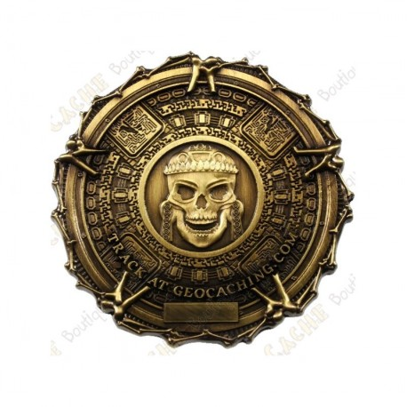 "Geocoin ""Pirate Bones"" - Antique Gold"