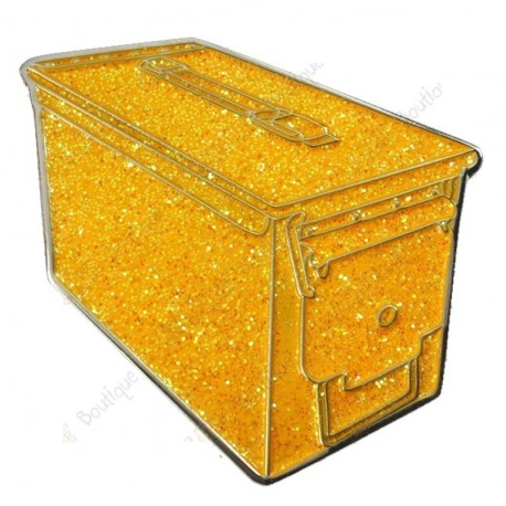 """Géocoin """"Ammo Can"""" - Glitter Gold"""