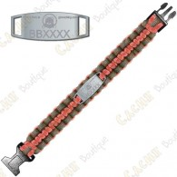Bracelet Paracorde Trackable - Brugse Beer V -  Rouge-Orange / Gris