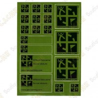 Sheet of 18 stickers with official geocaching logo on a green background