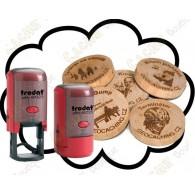 Estampilla + Wood coins personalizados x 50