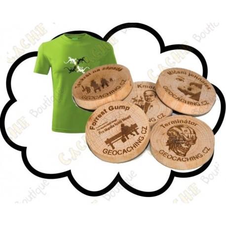 Camiseta + Wood coins personalizados x 50