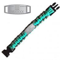 Bracelete Paracord Trackable - Geocaching - Turquesa / Cinza
