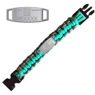 Trackable Paracord Bracelet - Geocaching - Aqua / Grey