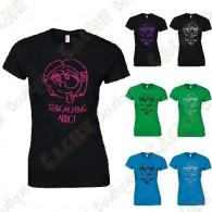 "T-shirt ""Geocaching Addict"" brilho Mulher"