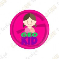 """Geocaching Addict"" Button Girl"
