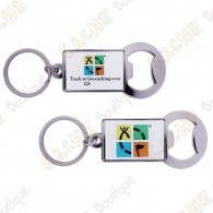 Geocaching Trackable keychain Bottle opener