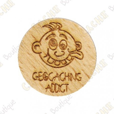 Wooden coin - Geocaching Addict Boy