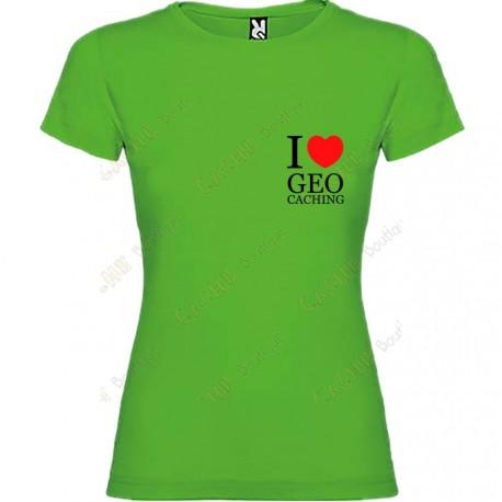"T-shirt ""I love Geocaching"" breast Mulher"