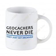 Mug Geocaching blanc - Geocachers Never Die