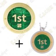 "Geocoin + Travel Tag ""Milestone"" - 1st Find"