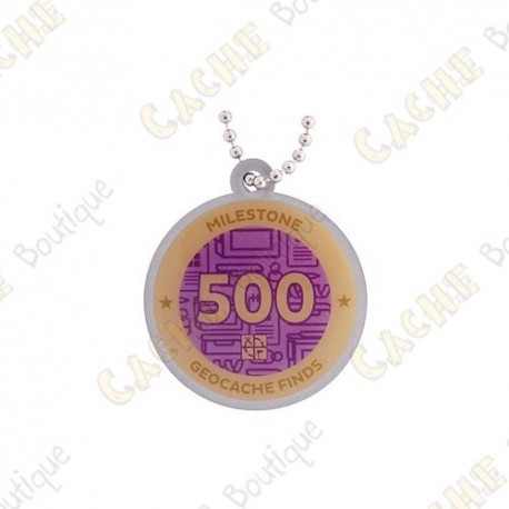 """Travel tag """"Milestone"""" - 500 Finds"""