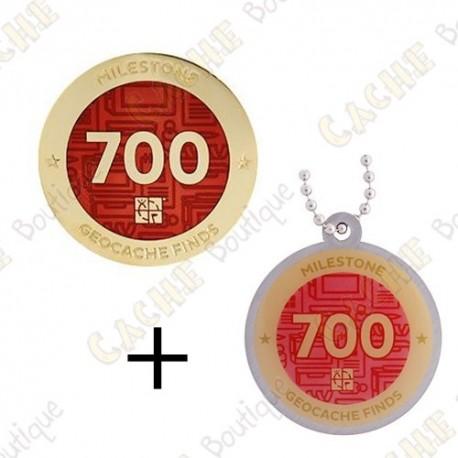 "Geocoin + Travel Tag ""Milestone"" - 700 Finds"