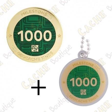 "Geocoin + Travel Tag ""Milestone"" - 1000 Finds"