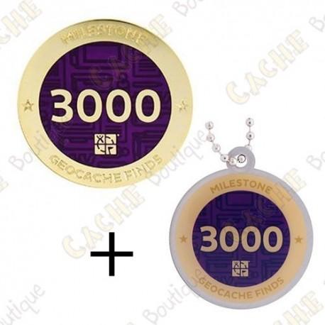 "Geocoin + Travel Tag ""Milestone"" - 3000 Finds"