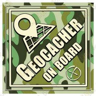"Camouflage ""Geocacher on board"" car cling"