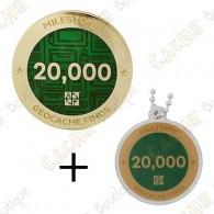 "Geocoin + Travel Tag ""Milestone"" - 20 000 Finds"