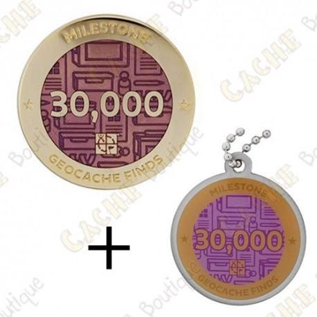 "Geocoin + Travel Tag ""Milestone"" - 30 000 Finds"